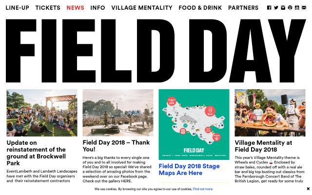 Screenshot of Fielddayfestivals