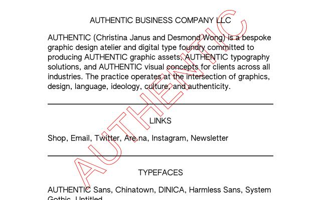 Screenshot of Authentic