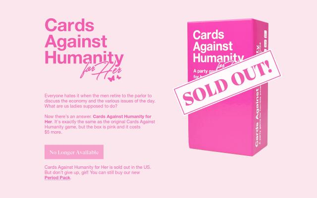 Screenshot of Cardsagainsthumanityforher