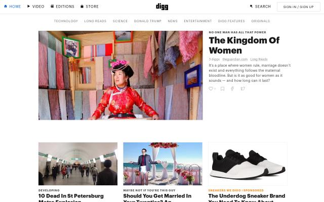 Screenshot of Digg