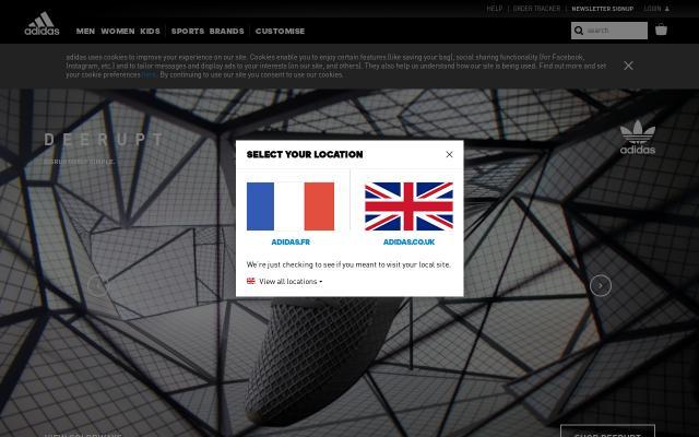 Screenshot of Adidas