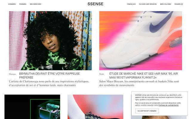 Screenshot of Ssense