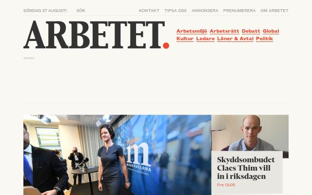 Screenshot of Arbetet