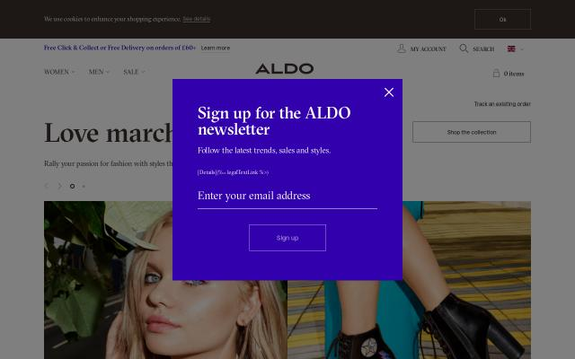 Screenshot of Aldoshoes