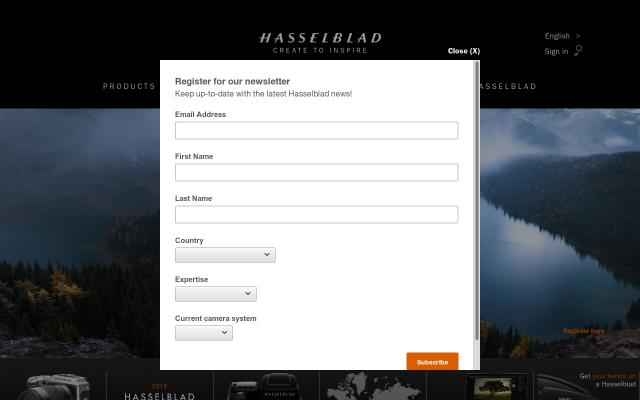 Screenshot of Hasselblad