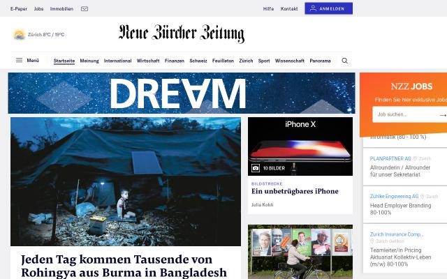 Screenshot of Nzz