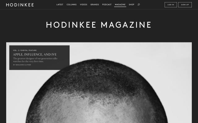 Screenshot of Hodinkee